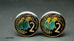 New Zealand enamelled coin cufflinks 2 cents