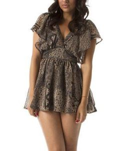 (CLICK IMAGE TWICE FOR DETAILS AND PRICING) Flirt Mini Dress Brown with black print. This lined flirty dress features a V-Neck with empire waist detail, flutter sleeve, tie closure on the upper back leading to a small upper back cutout.. See More Mini Dress at http://www.ourgreatshop.com/Mini-Dress-C90.aspx