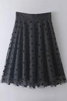 Black Mesh Spliced A Line Skirt