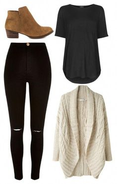 Shop the Look. A perfect casual outfit for fall and winter. Cozy cardigan sweater, distressed black jeans, brown booties and plain tshirt. winter outfits Fashion Look Featuring Barefoot Dreams Cardigans and Sole Society Cardigans by duffnation - ShopStyl Looks Style, My Style, Daily Style, Trendy Style, Casual Chic Style, Style Men, Barefoot Dreams Cardigan, Mode Kpop, Distressed Black Jeans