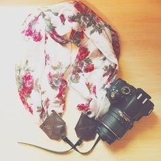 Roses are Red Scarf Camera Strap by EarthtoEmerald on Etsy
