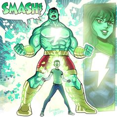 Amalgam SMASH by LucianoVecchio on DeviantArt Captain Marvel Shazam, Marvel Characters, Fictional Characters, Fantasy Comics, I Really Love You, Bruce Banner, Nerdy, Sci Fi, Geek Stuff