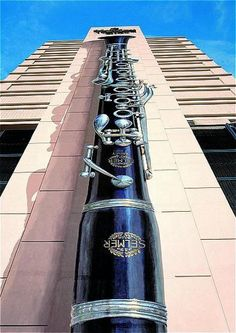 Another view of the Holiday Inn clarinet mural in New Orleans