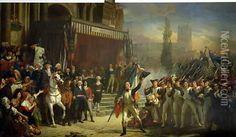 The Enrolment of Volunteers, 22nd July 1792, c.1850-53 Oil Painting, Auguste Jean-Baptiste Vinchon Oil Paintings - NiceArtGallery.com
