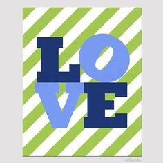 Love Word Graphic Kids Wall Art Print Personalized by ofCarola, $12.00