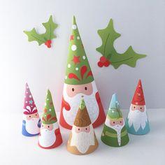 Printable Nature Wall Art and DIY Party par littledearprintshop Christmas Party Decorations, Christmas Crafts, Christmas Ornaments, Christmas Holiday, Christmas Gnome, Decoracion Navidad Diy, Kokeshi Dolls, Finger Puppets, Animal Party