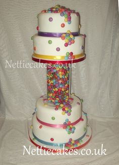 Smarties Wedding cake - this was great fun to design i used 26 tubes of smarties and got the ribbons to colour match the smarties. Cupcake Cakes, Cupcakes, Cupcake Ideas, Smarties Cake, Round Wedding Cakes, Colour Match, Colorful Cakes, I Party, Wow Products