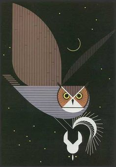 Owl and skunk illustration by Charley Harper. ~via Surrounded by Colours Charley Harper, Art And Illustration, Gravure Illustration, Photo Macro, Eugenia Loli, Theme Harry Potter, Photo Images, Guache, Owl Print