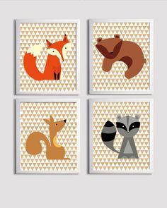 Nursery Boy Kids Wall Art Girl Woodland Forest  Zoo Animals Wood grain set of 4 each 11x14. $56.00, via Etsy.
