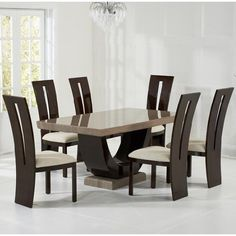 Allie Marble Dining Table Rectangular In Brown With 6 Ophelia Cream Chairs, It oozes class and style, and is very chic and modern in design. Dining table constructed from a durable solid wood, with. Marble Dining Table Set, Wooden Dining Table Designs, Dinning Table Design, Wooden Dining Chairs, Contemporary Dining Table, Dining Room Sets, Dining Room Furniture, Furniture Design, Solid Wood Dining Set