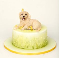 Golden retriever and chickens cake