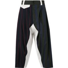 Vivienne Westwood multi-stripes drop-crotch trousers ($498) ❤ liked on Polyvore featuring men's fashion, men's clothing, men's pants, men's casual pants, blue, mens blue pants, mens striped pants, mens drop crotch pants and mens low crotch pants