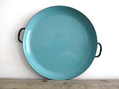 Vintage Blue Enamel Plate with Black Trim, Turquoise Metal Enamelware Serving Dish with Handles - Retro Serving Platter, Sizzling Plate