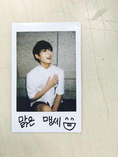"BTS Tweet - Jungkook (polaroid - selca) 150514 -- 수고하셨습니다!!! 내일도 맑게 무대할게요 ㅋㅋ -- [TRANS] pic.twitter.com/1NC19Z0DTv ""You guys worked hard (cheering for us)!!! I will perform brightly again tomorrow keke (On the polaroid, it reads 'innocent/pure pledge' lol)"" -- cr: ARMYBASESUBS · @BTS_ABS"