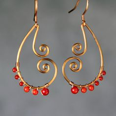 Coral copper wiring scroll hoop earring handmade US freeshipping Anni Designs