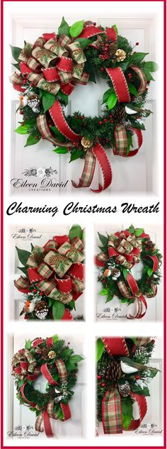 This charming Christmas wreath would look great on your front door this holiday season!