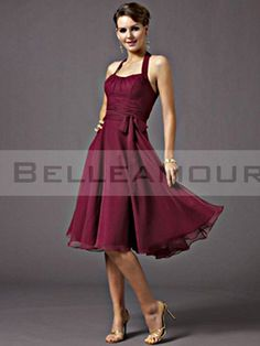 Robe demoiselle d'honneur Rouge à Licou Plis Ruban A-ligne