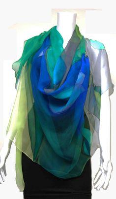 Image of Green & Grays Silk Shawl www.LeylaNavab.com