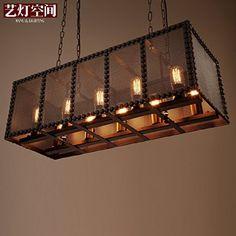 JJ LED moderno aparejo de araña de luces colgantes Loft eólica industrial hierro restaurante y bar cafetería salón bar personalidad creativa y candelabros ,770mm*300mm*250mm recepción: Amazon.es: Iluminación