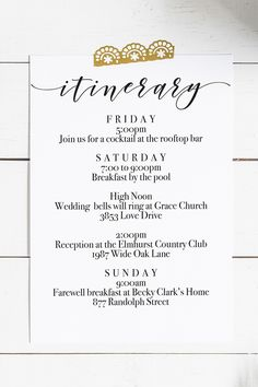 Printable Wedding Weekend Itinerary For Your Hotel Welcome Bags You Can Download Free Super