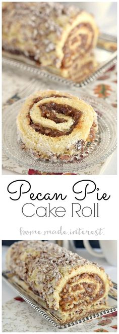 Pecan pie filling rolled into a light sponge cake make this pecan pie cake roll a perfect Thanksgiving dessert. Pecan pie filling rolled into a light sponge cake make this pecan pie cake roll a perfect Thanksgiving dessert. Thanksgiving Desserts, Christmas Desserts, Thanksgiving Sides, Cake Roll Recipes, Dessert Recipes, Sponge Roll Cake Recipe, Dinner Recipes, Holiday Baking, Christmas Baking