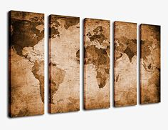 Vintage Canvas Prints World Maps - Set of 5 Large Modern Map of the World Canvas Wall Art Framed for Office Decoration