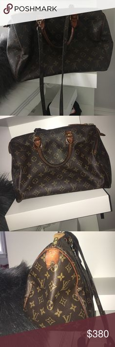 Louis Vuitton Speedy bag w strap Vintage Louis Vuitton large speedy bag w strap Louis Vuitton Bags Crossbody Bags