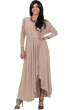 3ea70104b5 KOH KOH Plus Size Womens Long Sleeve Wrap Slit Formal Fall Winter Cocktail  Gown Maxi Dress