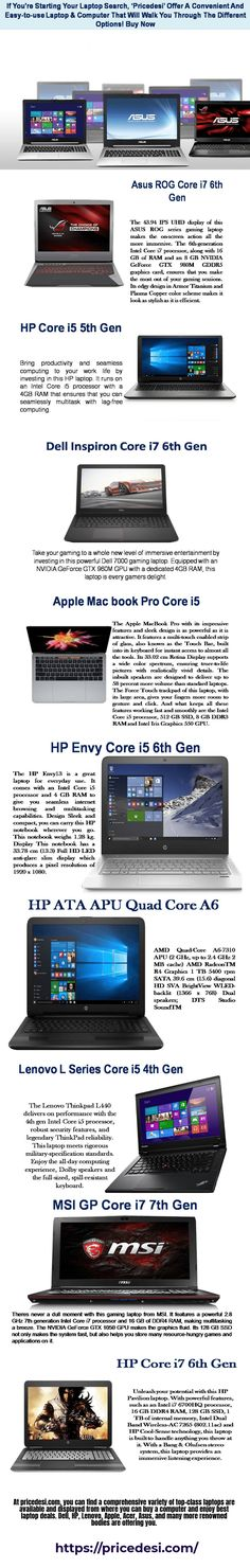 At pricedesi.com, you can find a comprehensive variety of top-class laptops are available and displayed from where you can buy a computer and enjoy best laptop deals. Dell, HP, Lenovo, Apple, Acer, Asus, and many more renowned bodies are offering you.