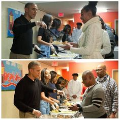 The Obama Family serving the Homeless on Thanksgiving Day. Good, Decent People who will be Sorely Missed. THIS is what True Americans Do!! Meanwhile, the Trump family gave thanks at their Mira-Lago Resort with their closest of billionaire friends dining over a fatted calf...