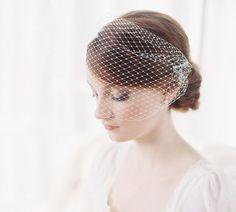 Bridal birdcage bandeau blusher veil  от EricaElizabethDesign, $58.00