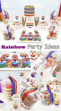 Fantastic rainbow birthday party ideas, like that gorgeous rainbow birthday cake! See more party ideas at CatchMyParty.com. #rainbow #girlbirthday