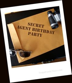 secret agent birthday party - with agent passports, drawing secret agent names, interrogation practice, making secret disguises, target practice, a laser course, and a scavenger hunt