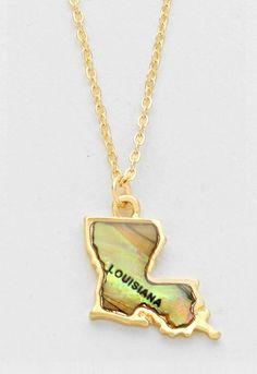 Necklaces  C B Pendants  C B Gold  C B Louisiana Map Abalone Shell Pendant Necklace