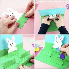 How to Make a Pop Up Easter Card -Easy Easter Craft for Kids. This homemade Easter card is a fun and easy craft for kids of all ages to make for Easter. Simple pop up handmade greeting card and Easter crafts for kids. Easter Arts And Crafts, Easter Crafts For Kids, Bunny Crafts, Easy Art For Kids, Egg Card, Kids Pop, Pop Up Cards, Kids Cards, Greeting Cards Handmade