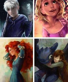 Jack Frost, Rapunzel, Merida & Hiccup