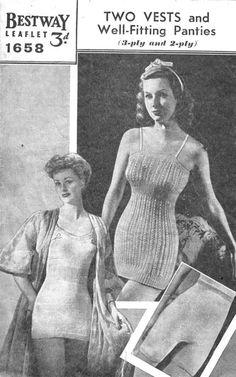 82c7944385 Great ladies vintage knitting pattern vest and knickers wartime 1940s  Vintage Underwear Pattern