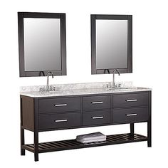 Featuring a matching wall mirror, this chic bathroom vanity features a double sink design and lovely marble countertop. Features:...