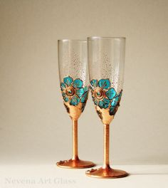 Copper Turquoise Wedding Glasses,Hand Painted, Champagne Glasses, Toasting Glasses, set of 2 on Etsy, $56.00