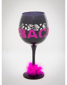 Bachelorette Wine Glass with Maribou Trim