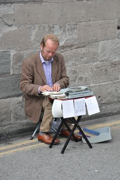 Only in Hay-on-Wye! A poet for hire. Poet, Reading, Books, Vintage, Libros, Word Reading, Book, Vintage Comics, Reading Books