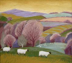 Sue Campion RBA. (English, born 1944) 'Sheep in Spring, Shropshire'