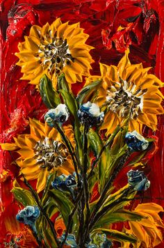 Justin Made by Hand 24X26 Sunflowers on red