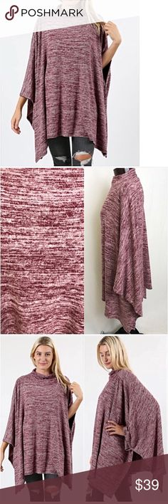 "💥HOTSALE💥Soft Wine Poncho Top Tunic One Size Add instant chicness to your look with this butter soft flowy poncho with armholes. Like getting a warm hug when you put this on. Marled burgundy stretchy 52% polyester- 43% rayon - 5% spandex.   One Size Fits XS-3X Length 30"" slight turtleneck oversized slouchy knit Sweaters Shrugs & Ponchos"