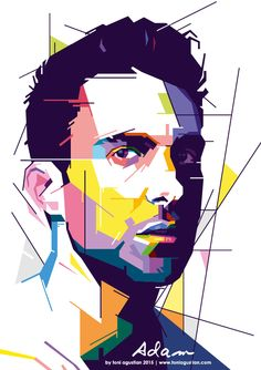 Adam Levine of Maroon Five in form of WPAP colorful pop art potrait by Toni Agustian.