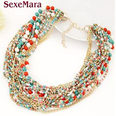 2017 Fashion Collar Flower Power choker Vintage Bohemian Long Necklace Women Maxi big bead fine Jewelry charms femme New Fashion #Affiliate