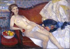 Glackens, William, (1870-1938), Nude with Apple, 1910, Oil