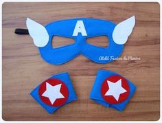 Antifaces de capitan america Felt Crafts, Diy And Crafts, Arts And Crafts, Capitan America Mascara, Anniversaire Captain America, Art Of Charm, Diy For Kids, Crafts For Kids, Sewing Crafts