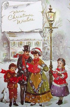 Old Christmas Post Cards — Christmas Carols Old Time Christmas, Old Fashioned Christmas, Christmas Scenes, Christmas Past, Victorian Christmas, Christmas Carol, Christmas Journal, Xmas, Vintage Christmas Images