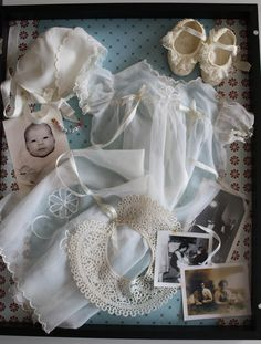 this is my Baptismal dress - almost 50 years old now.with some other treasured items. Of special interest is the bobbin lace bib. Every region of Italy has their own style. Shadow Box Memory, Memory Frame, Shadow Box Art, Shadow Box Frames, Baby Memories, Family Memories, Christening Gowns, Baptism Gown, Heritage Scrapbooking